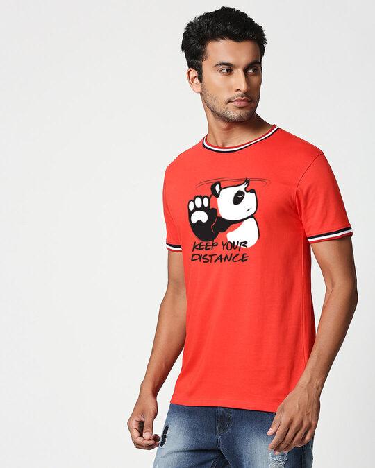 Shop Stay Away Panda Crewneck Varsity Rib H/S T-Shirt-Multicolor-Back