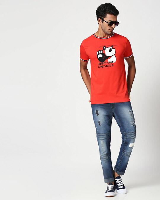 Shop Stay Away Panda Crewneck Varsity Rib H/S T-Shirt-Multicolor-Full