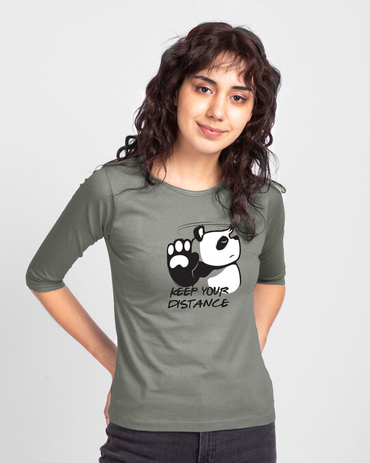Shop Stay Away Panda Round Neck 3/4 Sleeve T-Shirts Meteor Grey-Front