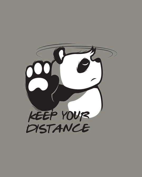 Shop Stay Away Panda Round Neck 3/4 Sleeve T-Shirts Meteor Grey