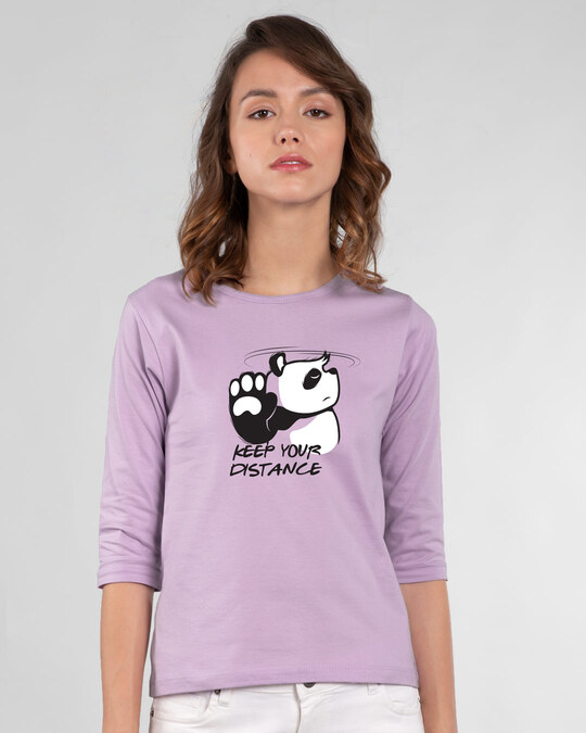 Shop Stay Away Panda Round Neck 3/4th Sleeve T-Shirt-Front
