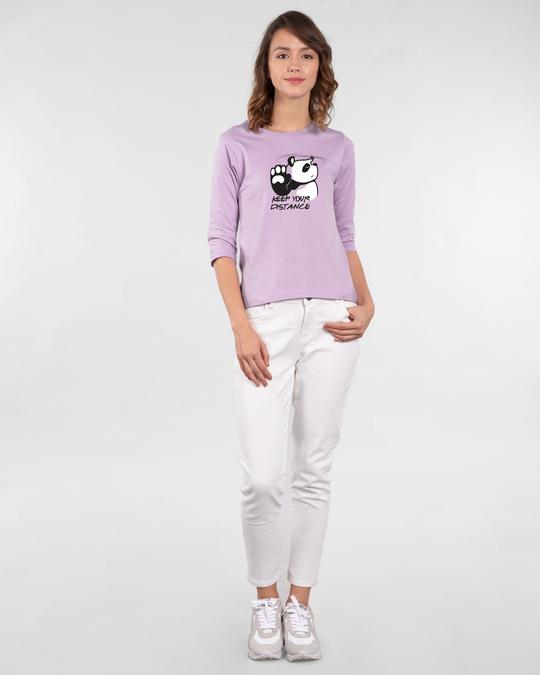 Shop Stay Away Panda Round Neck 3/4th Sleeve T-Shirt-Full