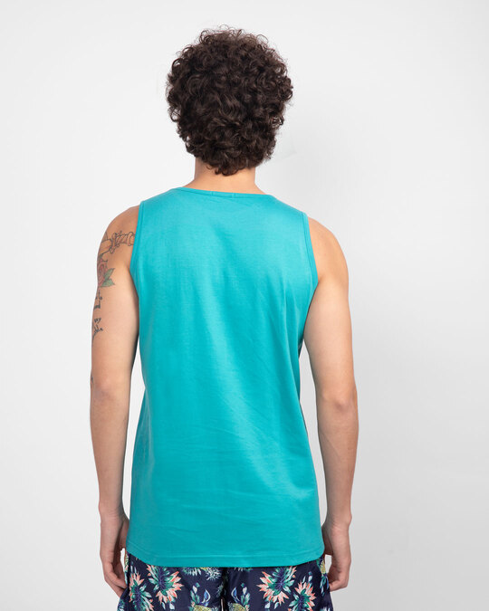 Shop Stay Away Panda Round Neck Vest Tropical Blue-Back