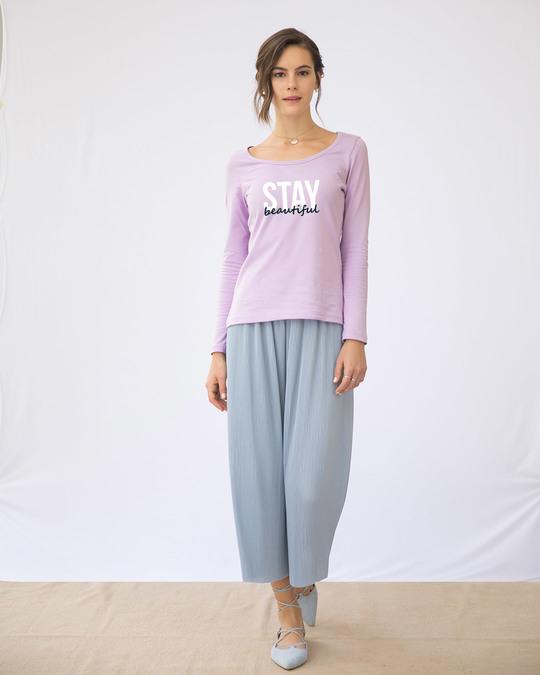 Shop Stay Beautiful Scoop Neck Full Sleeve T-Shirt-Full