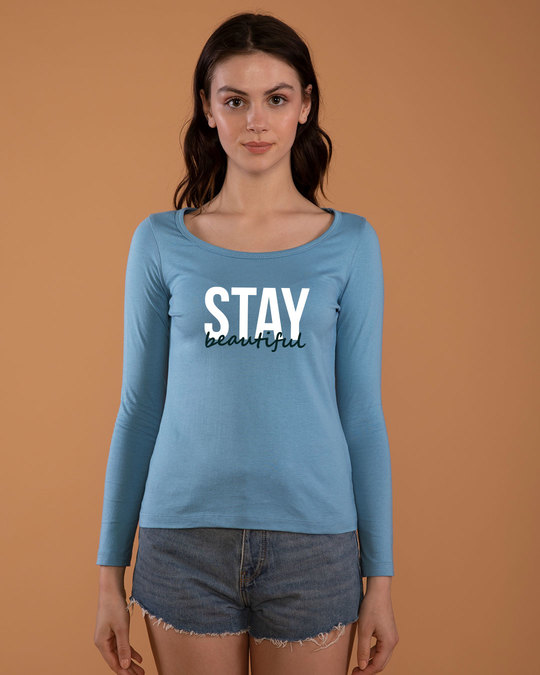Shop Stay Beautiful Scoop Neck Full Sleeve T-Shirt-Front