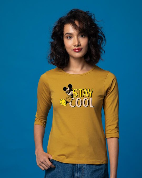 Shop Stay Cool Mickey Round Neck 3/4th Sleeve T-Shirt (DL)-Front