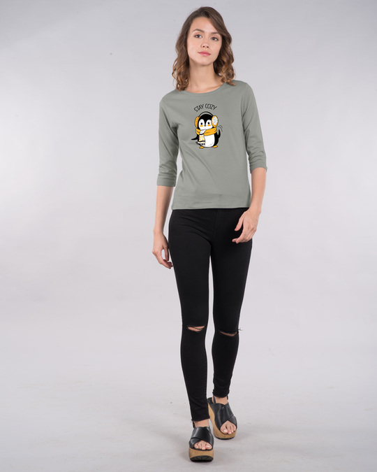 Shop Stay Cozy Round Neck 3/4th Sleeve T-Shirt-Full