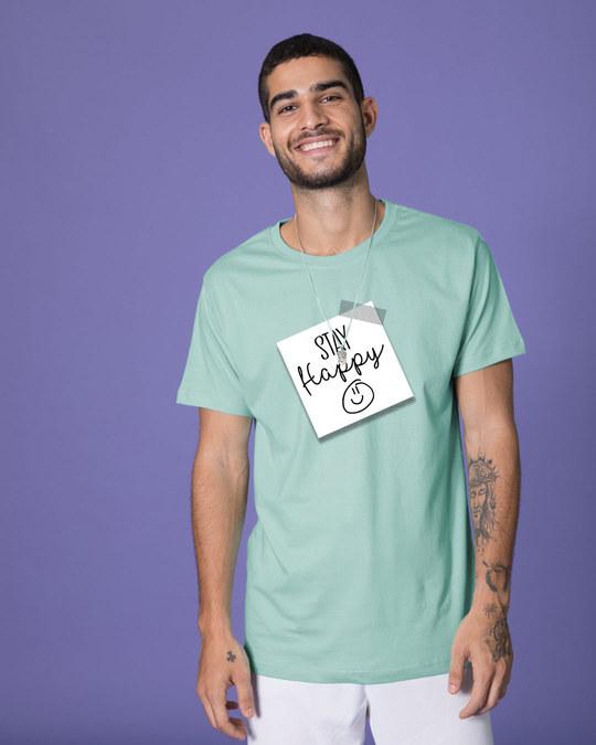 Shop Stay Happy Smiley Half Sleeve T-Shirt-Back