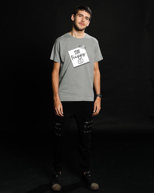 Shop Stay Happy Smiley Half Sleeve T-Shirt