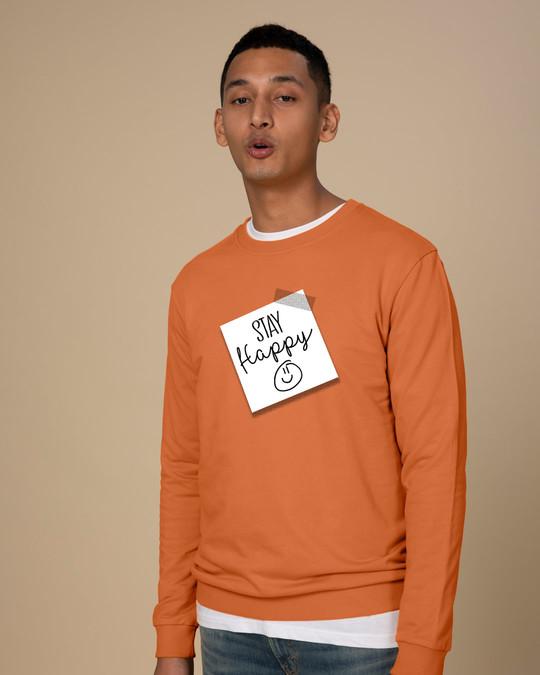 Shop Stay Happy Smiley Fleece Sweater-Back