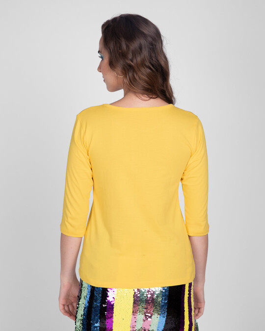 Shop Stay Home And Chill Round Neck 3/4th Sleeve T-Shirt Happy Yellow-Back