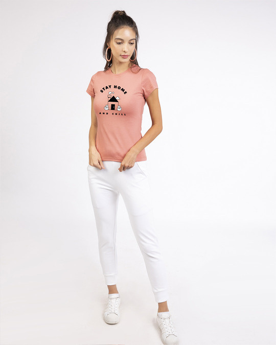 Shop Stay Home And Chill Half Sleeve T-Shirt Misty Pink-Design