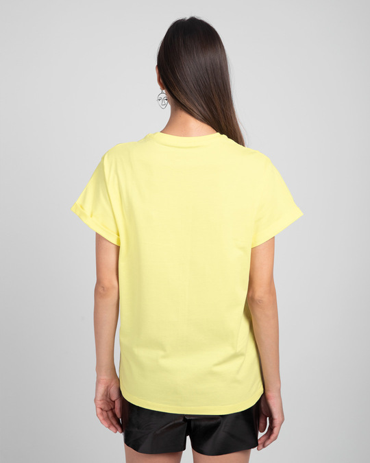 Shop Stay Home And Chill Boyfriend T-Shirt Pastel Yellow-Back