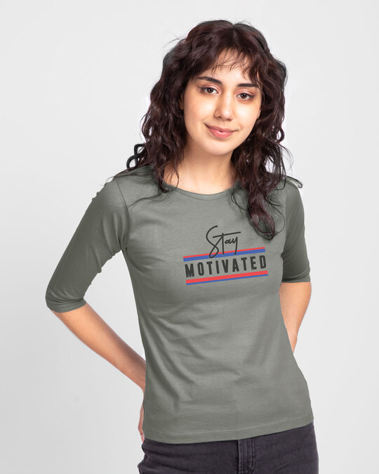 Shop Stay Motivated Stripe Round Neck 3/4 Sleeve T-Shirts Meteor Grey-Front