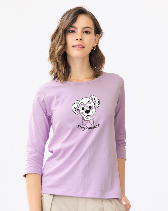 Shop Stay Pawsome Round Neck 3/4th Sleeve T-Shirt (DL)-Front