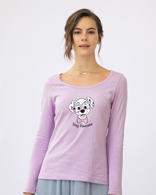 Shop Stay Pawsome Scoop Neck Full Sleeve T-Shirt (DL)-Front