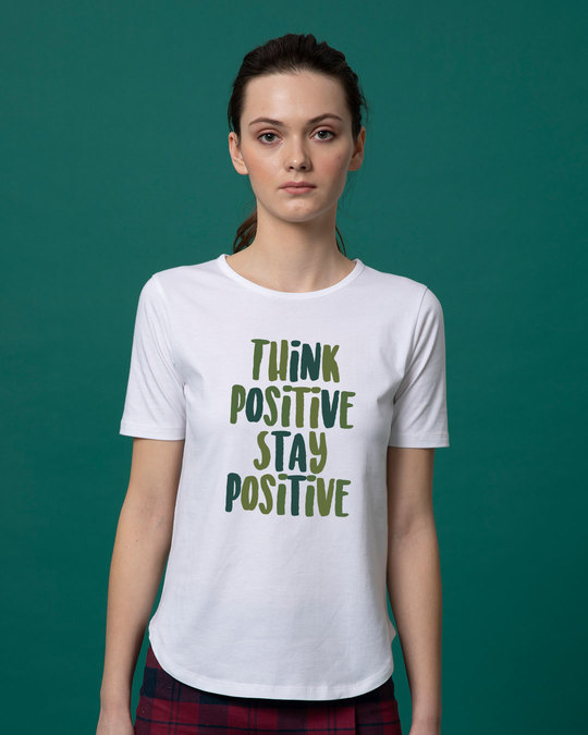 Shop Stay Positive Basic Round Hem T-Shirt-Front