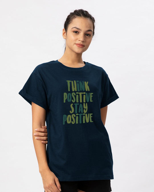 Shop Stay Positive Boyfriend T-Shirt-Back