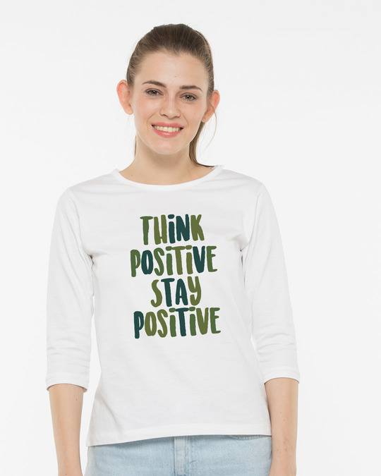 Shop Stay Positive Round Neck 3/4th Sleeve T-Shirt-Front