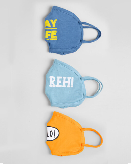 Shop 2-Layer Everyday Protective Mask - Pack of 3 (Stay Safe!Duur Reh! Hello!)-Design