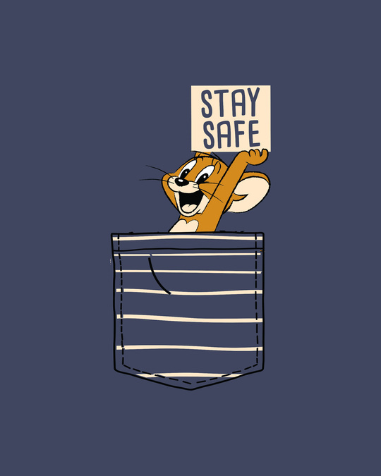 Shop Stay Safe Jerry Round Neck 3/4th Sleeve T-Shirt (TJL)