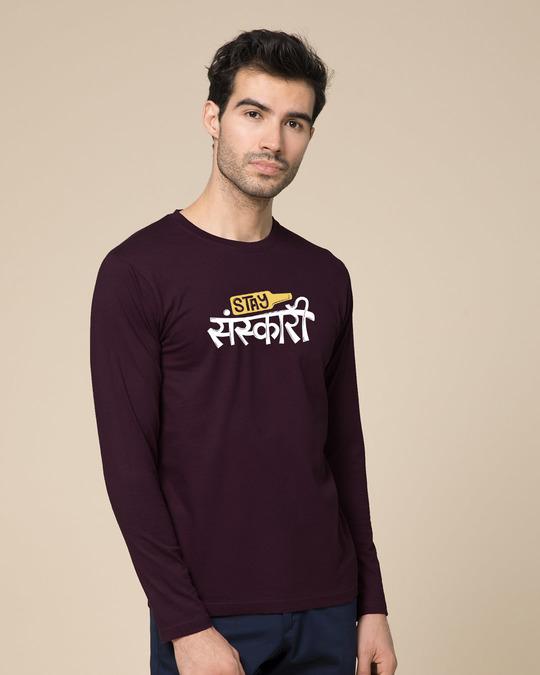 Shop Stay Sanskari Full Sleeve T-Shirt-Back