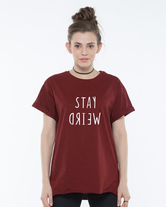 Shop Stay Weird Boyfriend T-Shirt-Front
