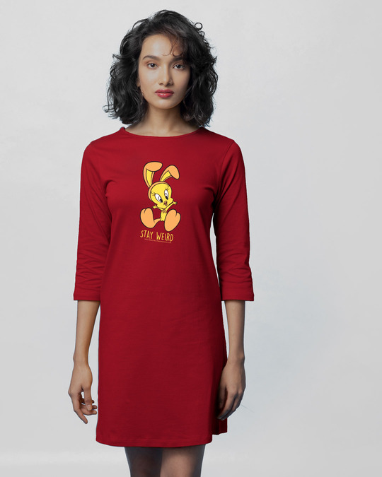 Shop Stay Weird Tweety Boat Neck 3/4th Sleeve T-Shirt Dress (LTL) Bold Red-Front