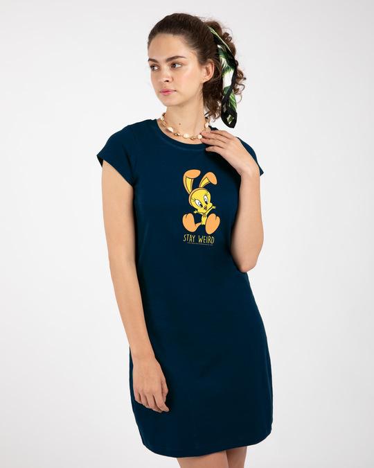 Shop Stay Weird Tweety Cap Sleeve Printed T-Shirt Dress (LTL) Navy Blue-Back