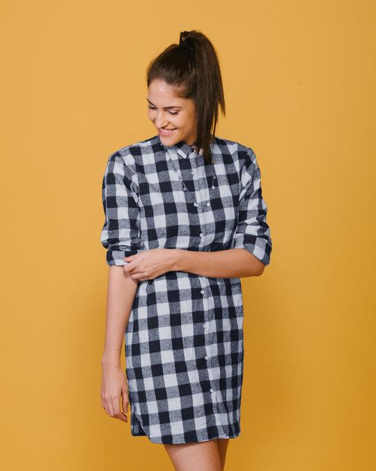4b618ca54e Buy Steel Blue Checks Shirt Dress Women Shirt Dresses Online India ...