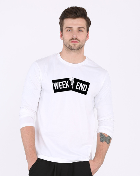 Shop Stitch The Weekend Full Sleeve T-Shirt-Front