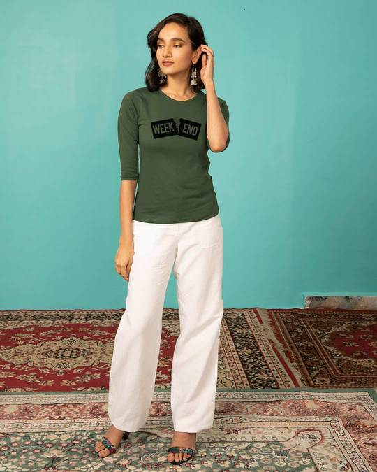 Shop Stitch The Weekend Round Neck 3/4th Sleeve T-Shirt-Full