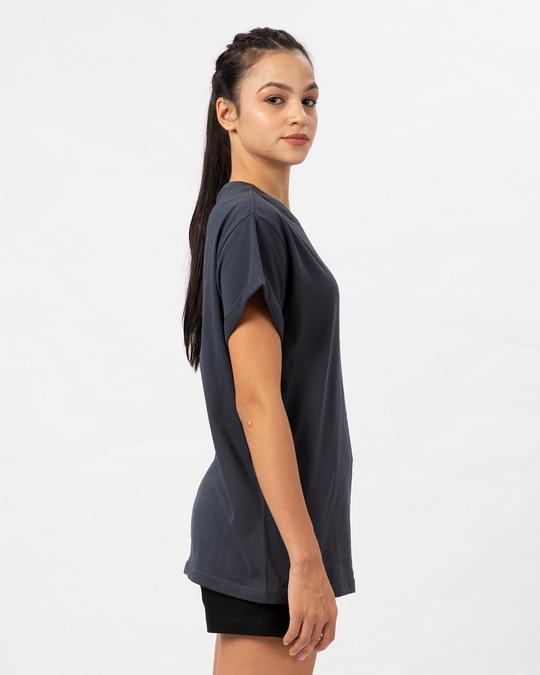 Shop Stone Grey Boyfriend T-Shirt-Back