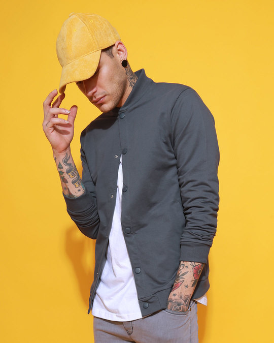 Shop Stone Grey Buttoned Bomber Jacket-Front