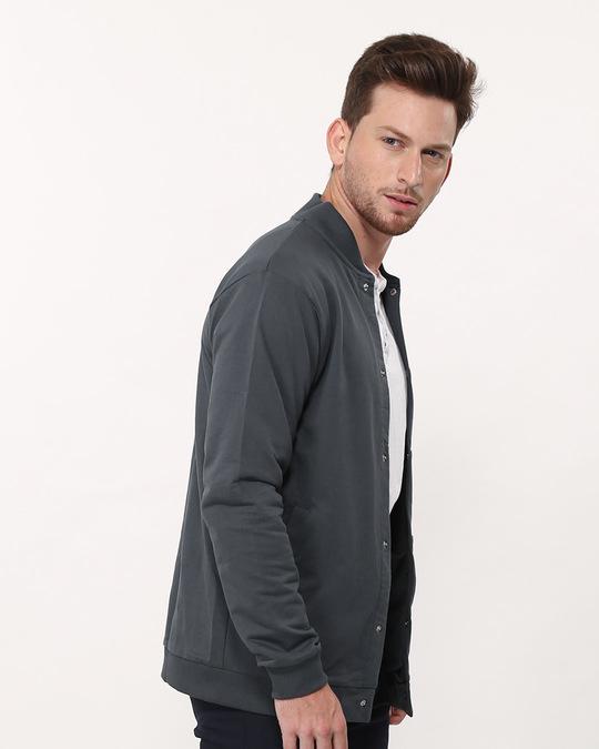 Shop Stone Grey Buttoned Bomber Jacket-Back