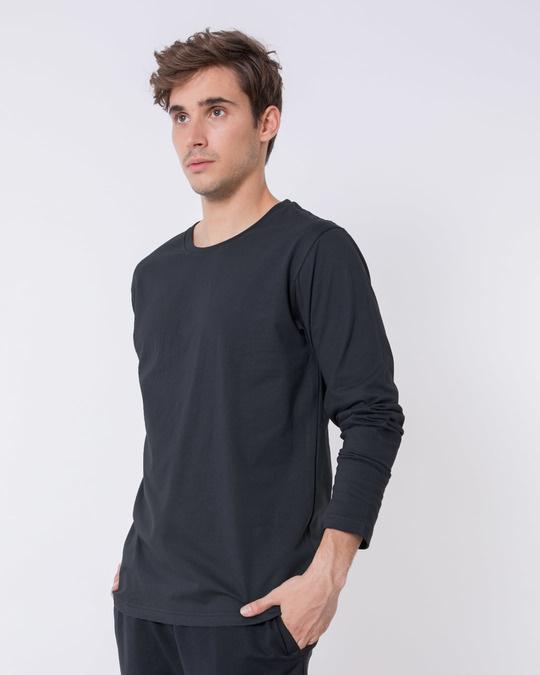 Shop Stone Grey Full Sleeve T-Shirt-Full