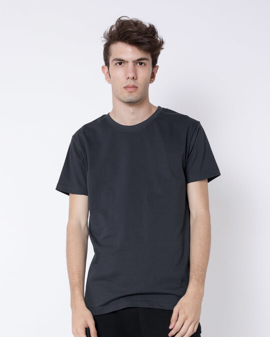 Shop Stone Grey Half Sleeve T-Shirt-Front