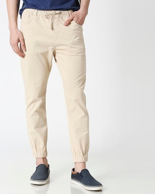 Shop Light Beige Mens's Chino Joggers-Front