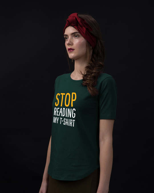 Shop Stop Reading Basic Round Hem T-Shirt-Back