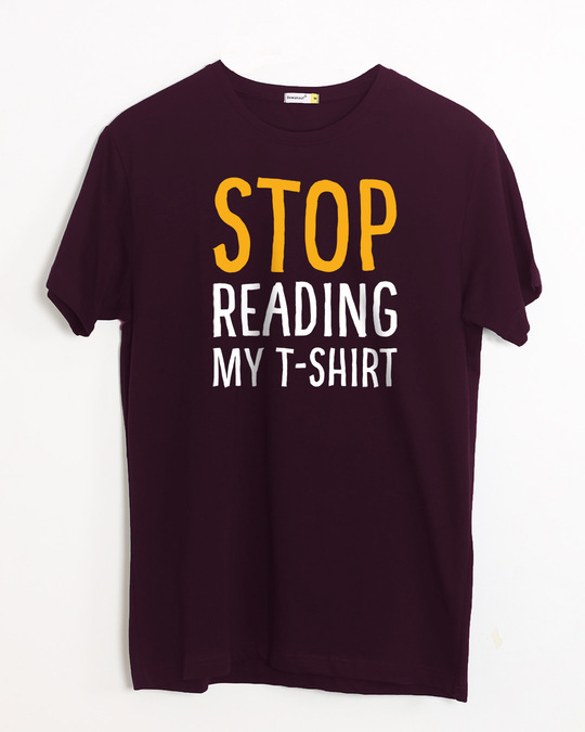 Shop Stop Reading Half Sleeve T-Shirt-Front