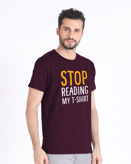 Shop Stop Reading Half Sleeve T-Shirt-Full