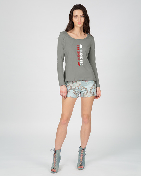 Shop Stop Reading This Scoop Neck Full Sleeve T-Shirt-Full