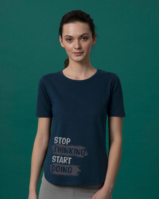 Shop Stop Thinking Basic Round Hem T-Shirt-Front