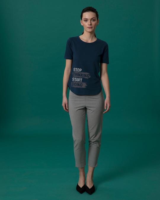 Shop Stop Thinking Basic Round Hem T-Shirt-Full