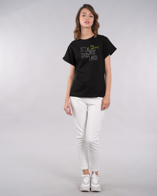 Shop Stop Wishing Start Doing Boyfriend T-Shirt-Full