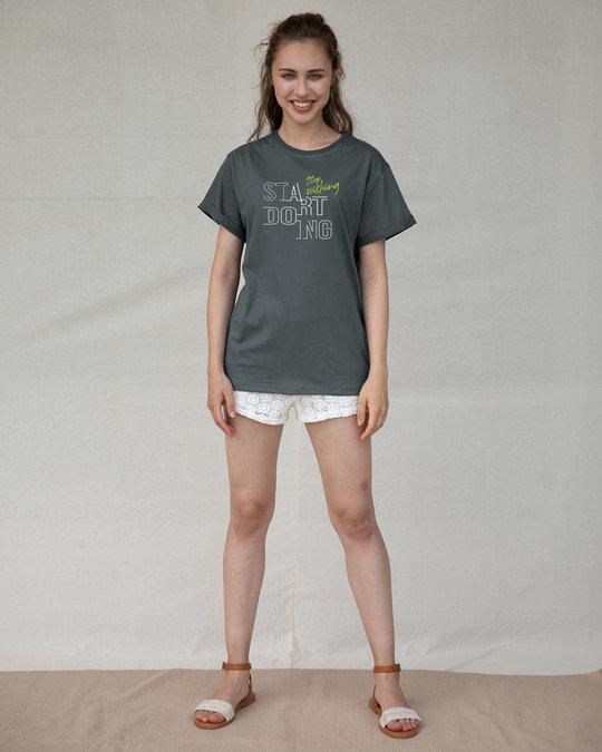 Shop Stop Wishing Start Doing Boyfriend T-Shirt-Design