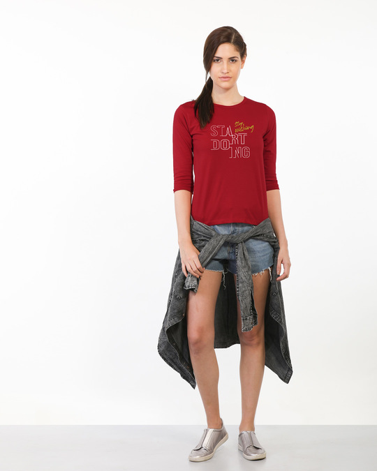 Shop Stop Wishing Start Doing Round Neck 3/4th Sleeve T-Shirt-Design