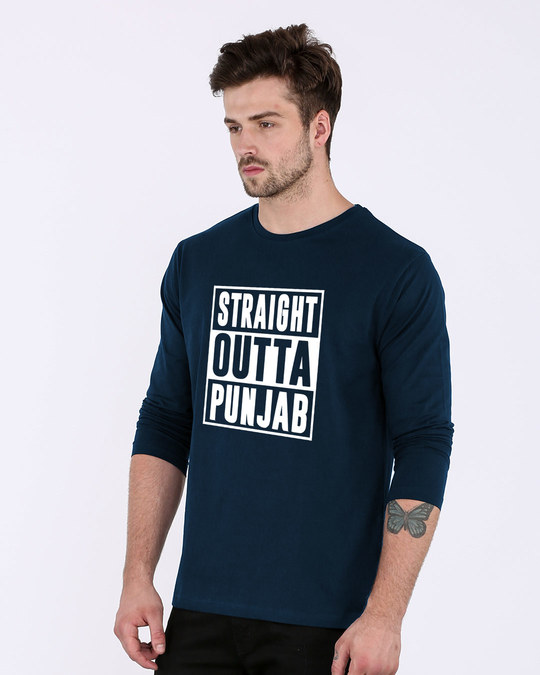 Shop Straight Outta Punjab Full Sleeve T-Shirt-Back