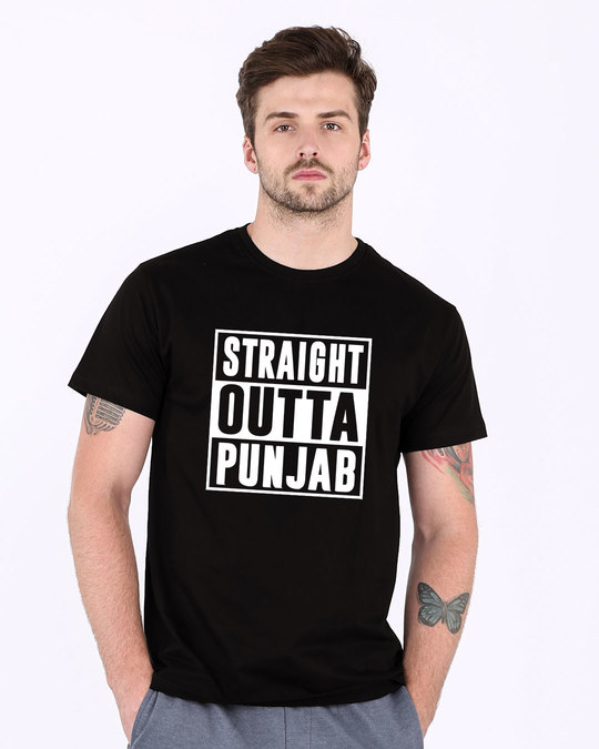 Shop Straight Outta Punjab Half Sleeve T-Shirt-Back