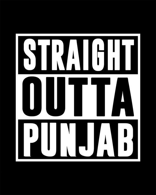 Shop Straight Outta Punjab Half Sleeve T-Shirt